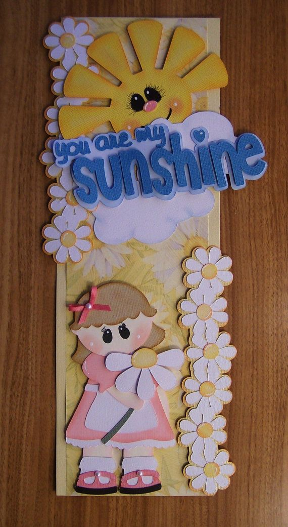Pre Made Vertical Border Girl U R My Sunshine by scrappinwithmom, $12.99