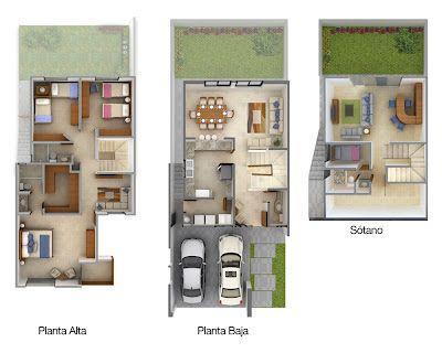 Planos de Casas y Plantas Arquitectónicas de Casas y Departamentos: 3 plantas