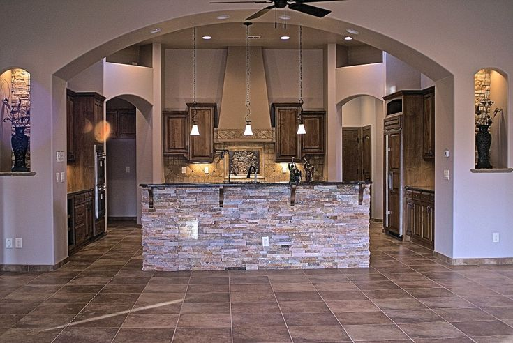 Stone Kitchen Island Images stacked stone compliments the kitchen peninsula | custom kitchens