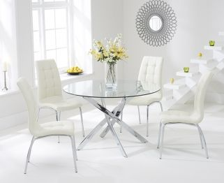 Mark Harris Daytona 110cm Glass Round Dining Table With 4 California Cream  Dining Chairs
