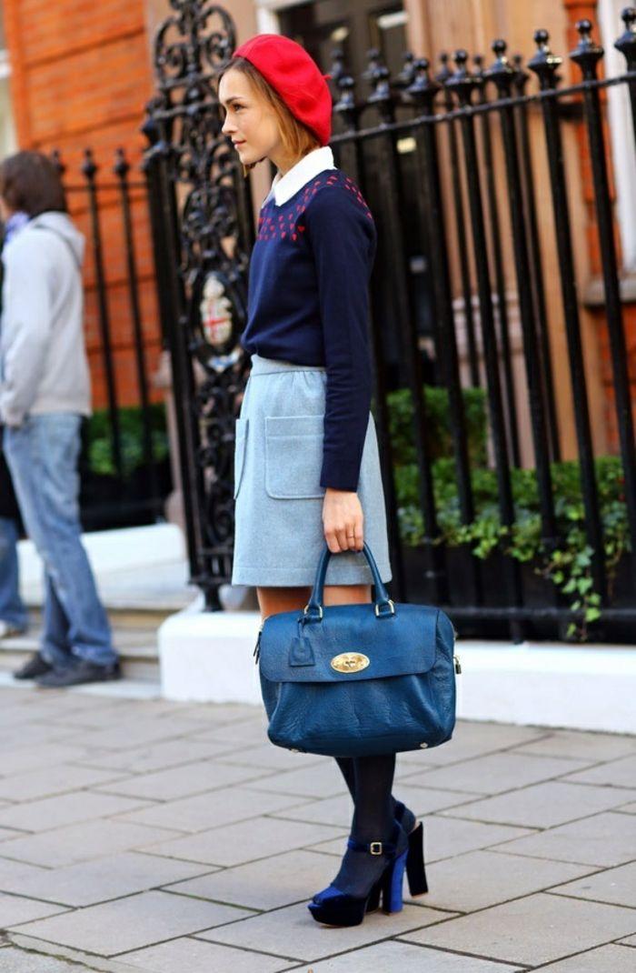 Mädchen-Schulen-Mode-simpel-stilvoll-französischer-Stil-rote-mütze                                                                                                                                                                                 Mehr