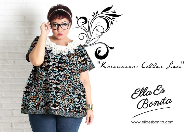 Kresnasari Collar Lace - This collar lace shirt features high quality batik cotton which specially designed for sophisticated curvy women originally made by Indonesian Designer & Local Brand: Ella Es Bonita. Available at www.ellaesbonita.com