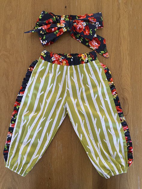 Girls Harem Pants & Headwrap Size 1 years by HarryandroseDesigns on Etsy