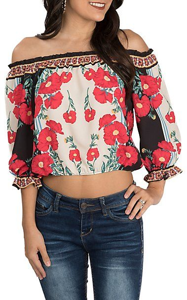 0afe2de002be95 Flying Tomato Women's Ivory and Black with Red Floral Print Off the Shoulder  3/4 Sleeve Cropped Fashion Top | Cavender's