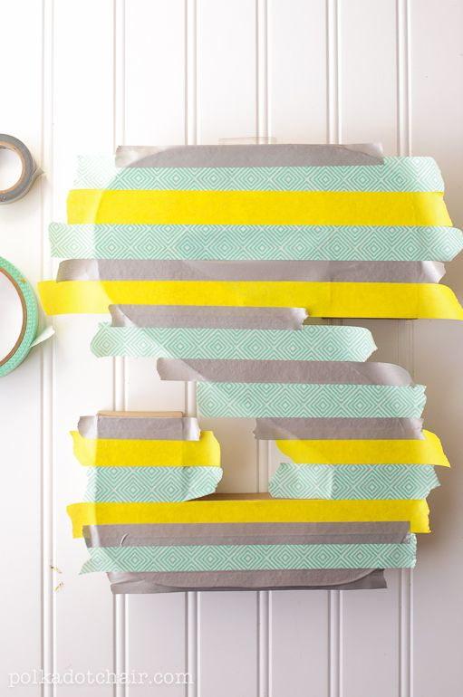 DIY - Washi Tape Letters for Sewing Room Decor - via polkadotchair