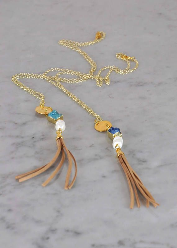 Semiprecious Geodes Crystal Necklace  Blue Crystal Necklace