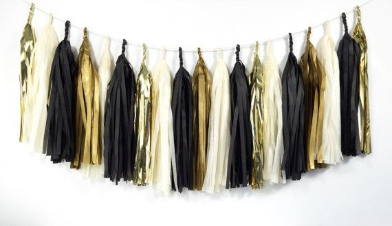 Hey, I found this really awesome Etsy listing at https://www.etsy.com/listing/209673447/glam-gold-tassel-garland-black-ivory
