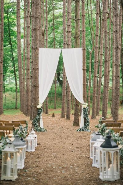 We've got Muslin & Sheer Chiffon Drapes that we can install in the woods, on a barn door or beams ~ contact us for details ~ tinrooffarmhouse@gmail.com ~ these are not ours, but they sure are gorgeous! - Rustic forest wedding: http://www.stylemepretty.com/new-york-weddings/2014/12/11/rustic-summer-wedding-at-roxbury-barn/ | Photography: Clean Plate - http://www.cleanplatepictures.com/