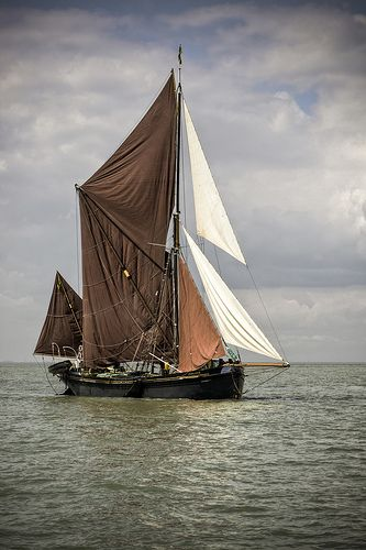 ".A magnificent Thames barge, the ""Marjorie""."