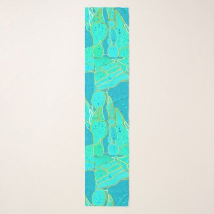 Sea Grotto abstract - turquoise blue gold Scarf  $50.18  by Floridity  - cyo customize personalize unique diy idea
