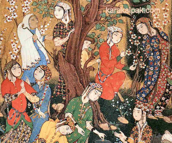 """""""Ladies preparing a picnic"""", from a copy of a Khamsa, Shiraz, about 1575. Bodleian Library, Oxford."""