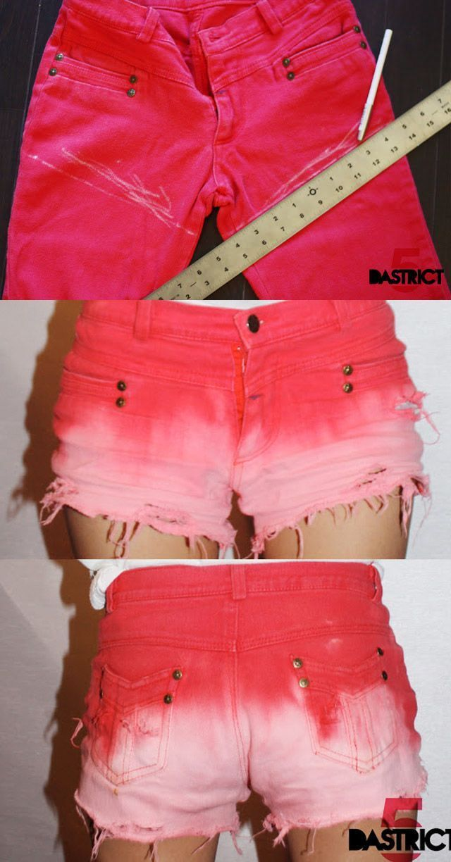20 Diy Shorts For Crazy Summer, DIY Old jeans to Ombre Pants-love these but I'd make mine Bermuda length.  I'm too old to have my cheeks hanging out!!!
