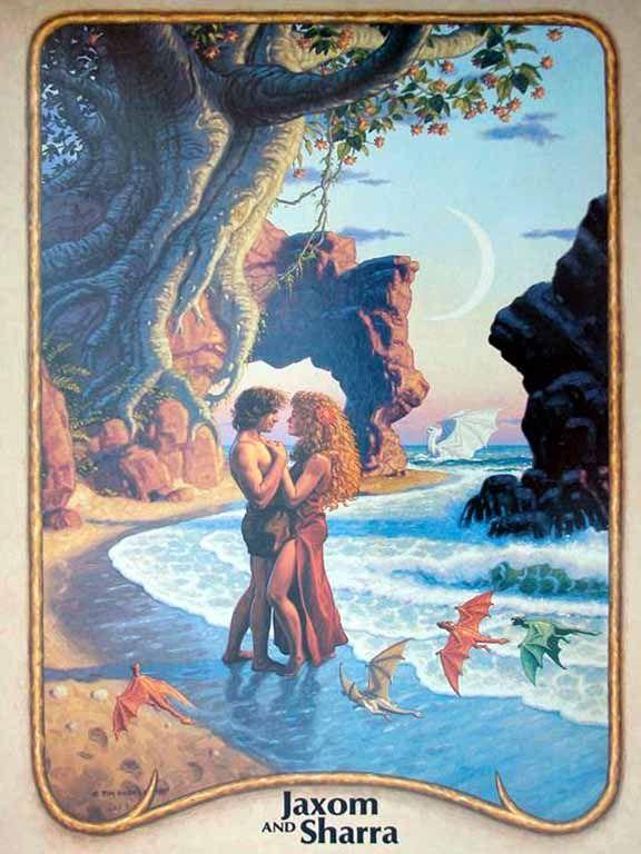 Jaxom and Sharra by Tim Hildebrand, from the 1985 Dragonriders of Pern calendar