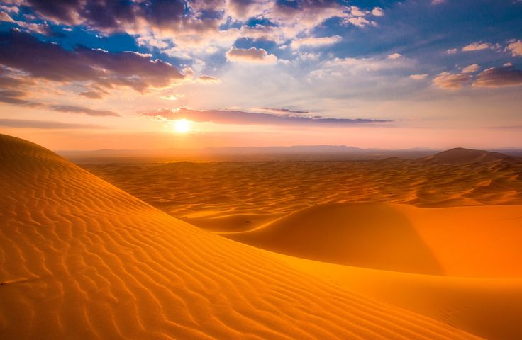 Fond d'écran du Sahara Desert Sunset 4K Ultra HD | 4k-Wallpaper.Net