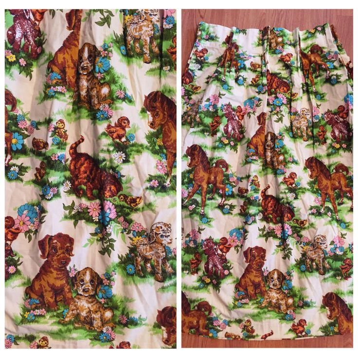 60's Childrens Curtains Pair by MellowVintageShop on Etsy https://www.etsy.com/listing/489430012/60s-childrens-curtains-pair