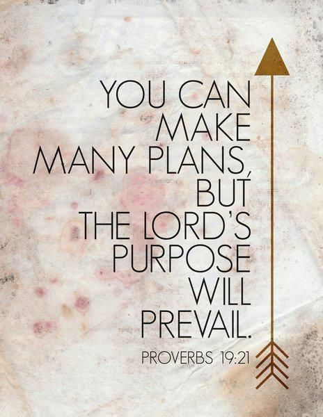 """You can make many plans, but, the Lord's purpose will prevail."" - Proverbs 19:21 FROM: Bible Quotes Part 11 by judith ...<<< And we know this to be true because?"