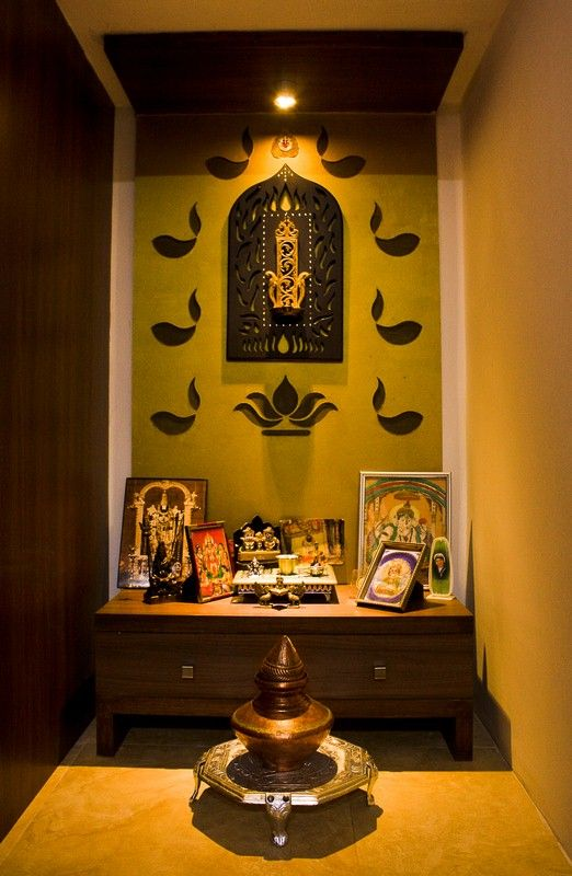 It is in the Pooja room that all of us pray, meditate and feel connected to  God. It's the sacred centre of the room.