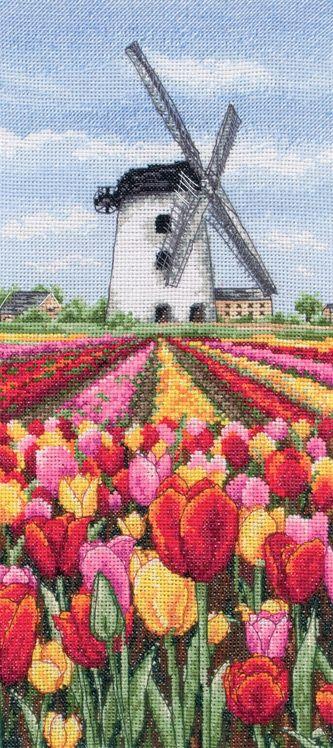 Dutch Tulips Landscape Cross Stitch Kit | sewandso