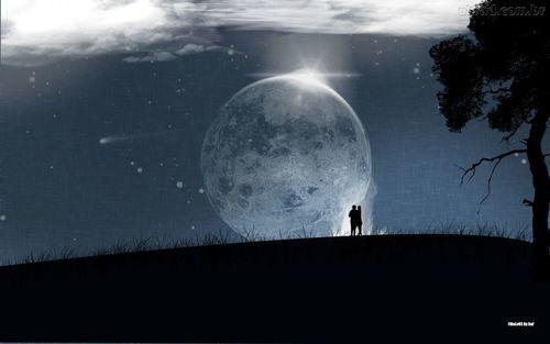 Imagem de moon, love, and night