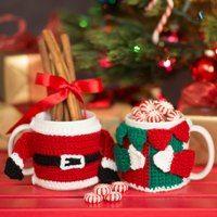 Santa and His Helper Elf mug cozy crochet patterns - Love of Crochet - Holiday 2013