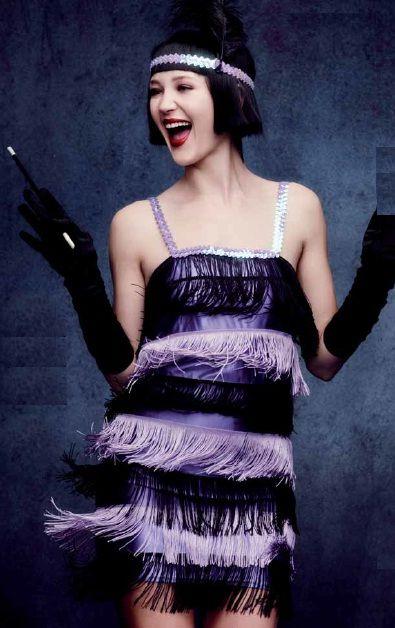 #Costume #Disfraz Charleston Años 20 Morado con flecos para mujer