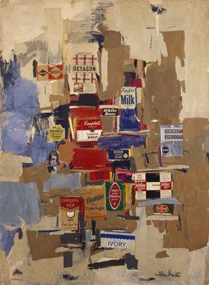 "Esteban Vicente, ""Labels"" (1956). Colored paper, printed paper, ink, charcoal, gouache, and pastel on cardboard. 48 7/8 × 35 3/8 in. Museo de Arte Contemporáneo Esteban Vicente, Segovia"
