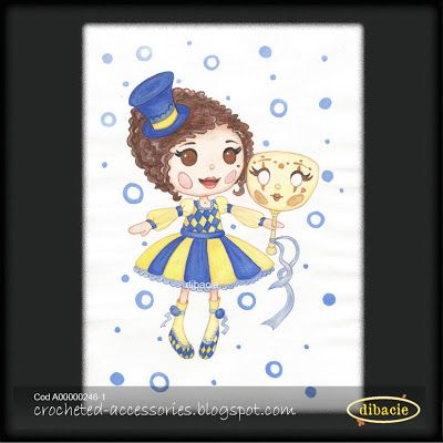 watercolor painting with a cloth doll in carnival costume