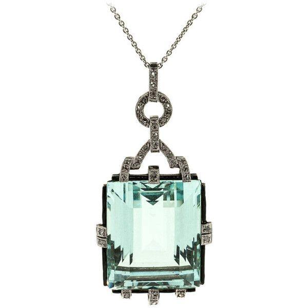 Pre-owned 1940s Aquamarine Diamond Platinum Pendant ($11,750) ❤ liked on Polyvore featuring jewelry, pendants, more necklaces, necklaces, pre owned jewelry, platinum pendant, aquamarine jewelry, long pendant and art deco diamond pendant