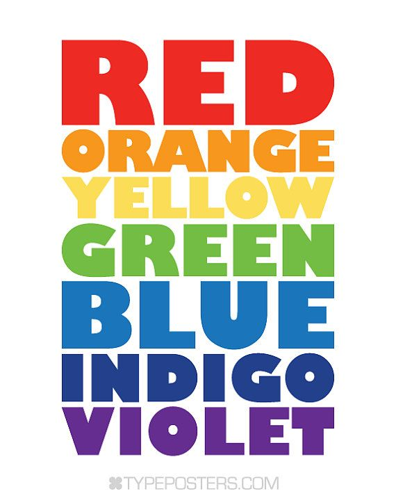 ROY G BIV Art Print by TypePosters on Etsy