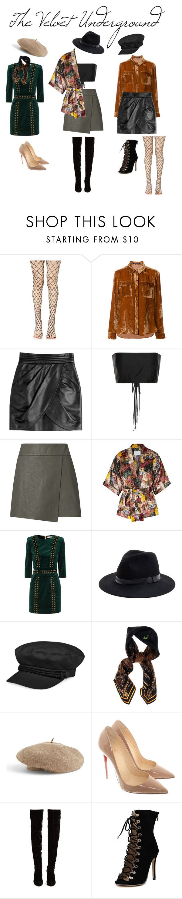 """""""The Velvet Underground"""" by elisabethjean on Polyvore featuring Leg Avenue, LUISA CERANO, Balmain, The Row, Exclusive for Intermix, Erdem, Pierre Balmain, Sole Society, Nine West and Versace"""