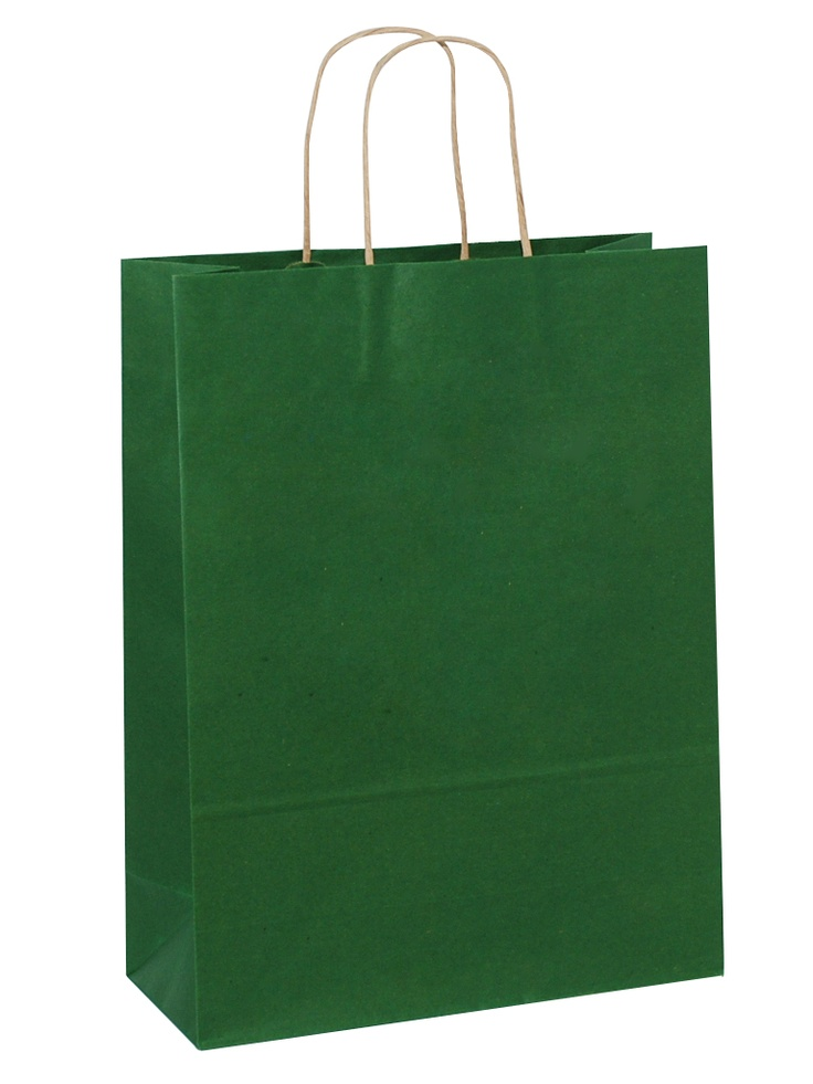 Brown Carrier Bag Twisted Handle - Solid Dark Green