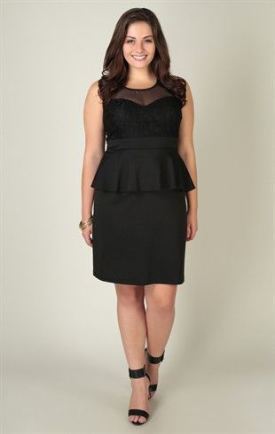 Deb Shops plus size #peplum #dress with lace bodice and illusion neckline