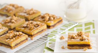 Cinnamon Oatmeal Custard Bars with Rum Raisin Sauce: In this delicious twist on the favorite cinnamon oatmeal raisin cookie, an oatmeal cookie crust is layered with a tangy buttermilk custard, sweet rum raisin sauce and a crunchy oat crumble. A drizzle of confectionersandrsquo
