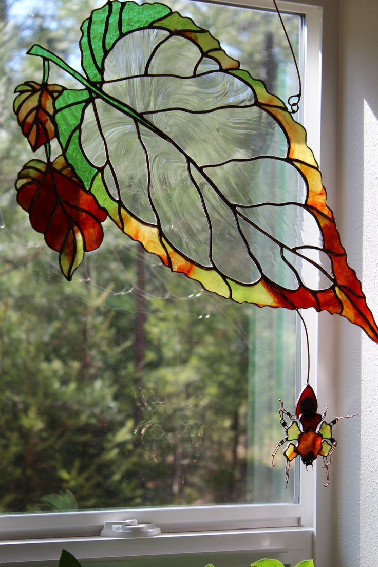 """Live this, but I would want a ladybug, butterfly or dragonfly instead of a spider :) """"Weaver"""" Stained Glass panel by Unikke Glas ~ 24"""" x 10"""""""