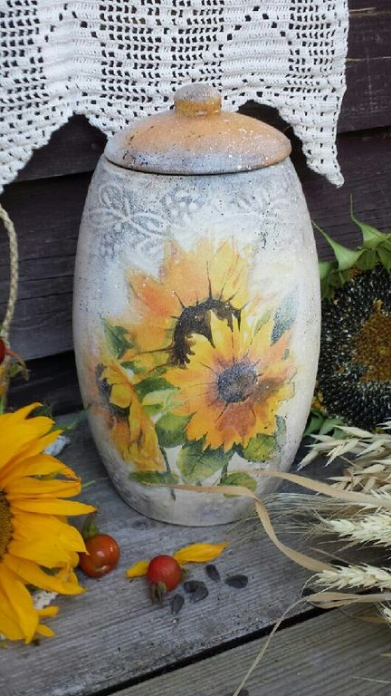 Купить или заказать ' Подсолнуховый мёд ' Бочонок. в интернет-магазине на Ярмарке Мастеров. Большой керамический бочонок в деревенском стиле. В бочонке можно хранить травы, специй, суш…