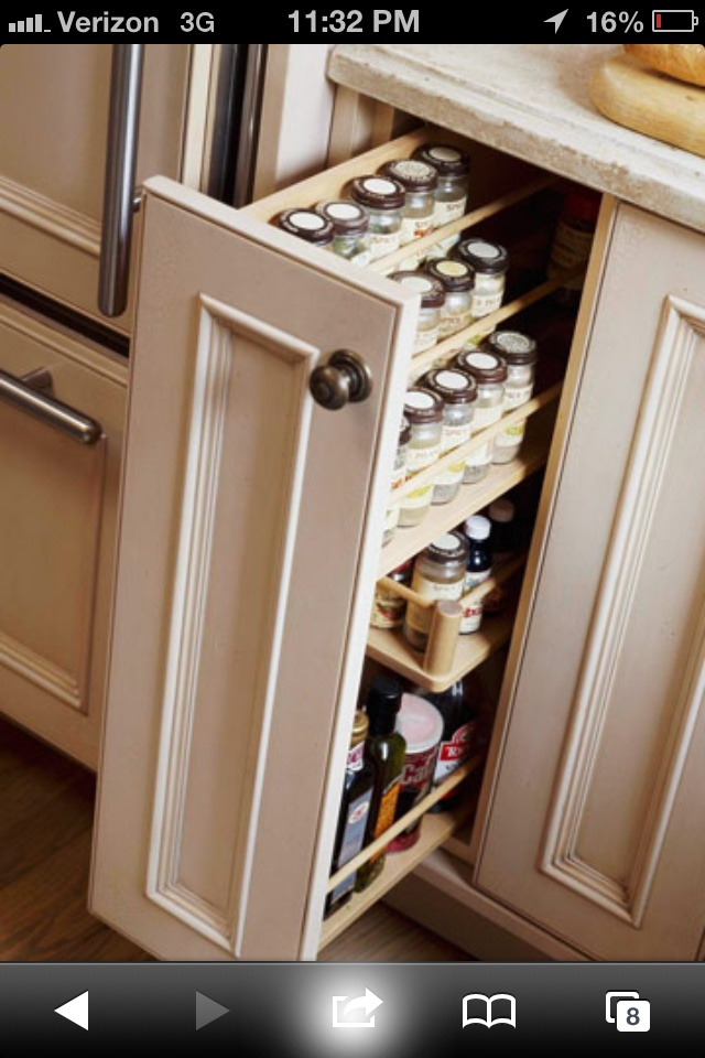 Spice storage, with a forward tilt - don't like door style but like idea
