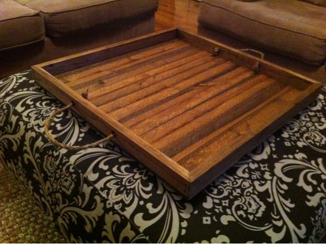 The Quaint Cottage: Simple Wooden Tray for Ottoman