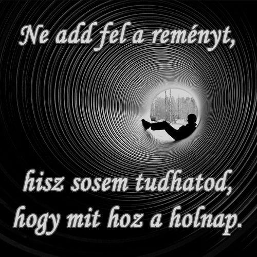 Ne add fel a reményt, hisz sosem tudhatod, hogy mit hoz a holnap. # www.facebook.com/angyalimenedek