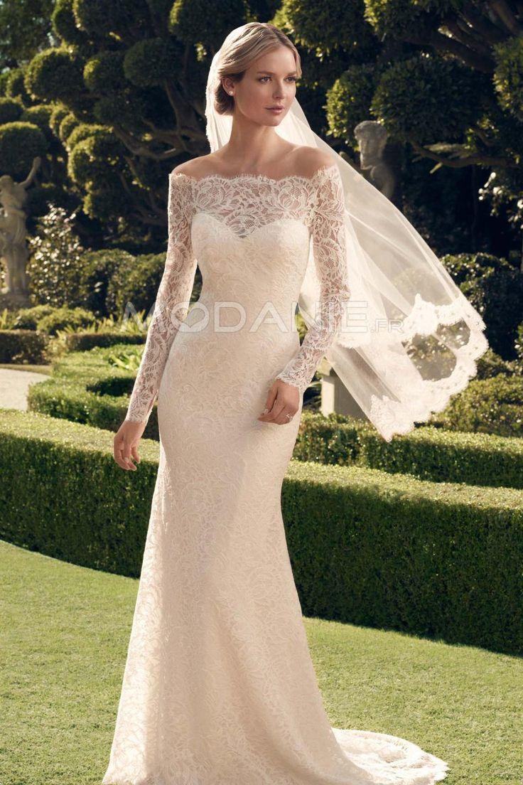 Robe de mariée classique épaule dégagée dentelle manches longues élégante [#M1503267098] - modanie
