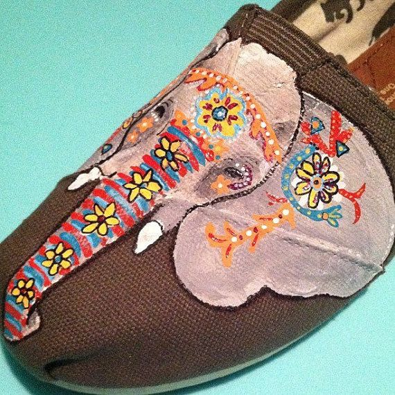 ☮ American Hippie Bohemian Style ~ Boho .. Indian Elephant Custom Hand Painted TOMS....I so LOVE these shoes!