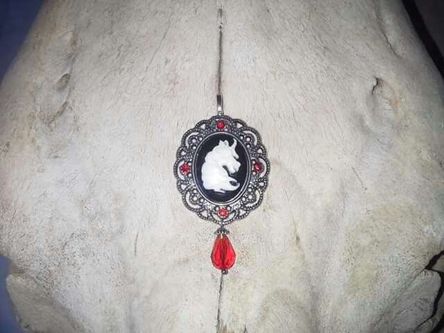 Made by Grievious- Unicorn Pendant with Red Crystal Glass Teardrop