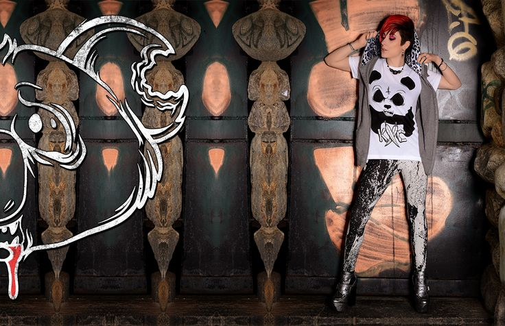 Evil panda tee with white leopard print vest and grunge leggings  Catch up on the latest soft grunge styles and fashion from Koalacore // we donate proceeds from every sale to a different non kill animal shelter every month