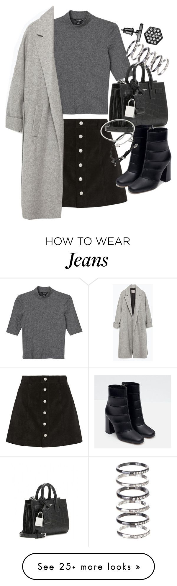"""""""Untitled #19332"""" by florencia95 on Polyvore featuring AG Adriano Goldschmied, Monki, Zara, Yves Saint Laurent, M.N.G, David Yurman, Cartier and Simply Vera"""