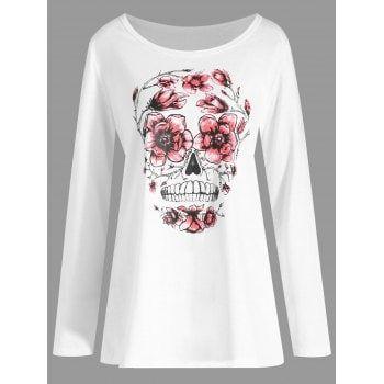 Plus Size Halloween Skull Floral Print T-shirt