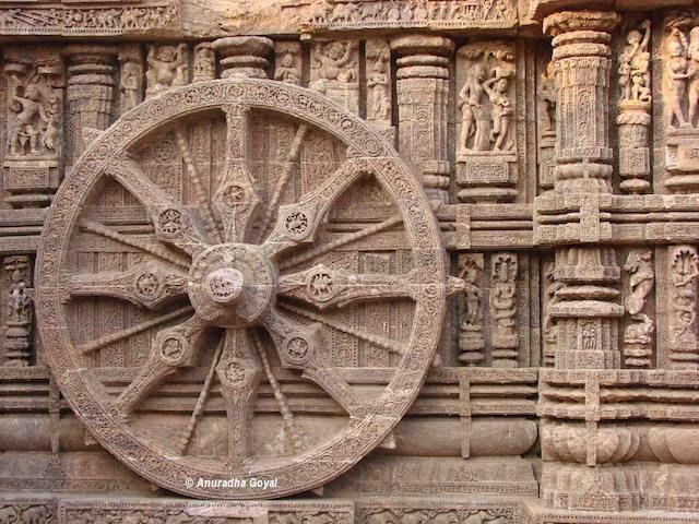 Carved wheels of Konark Sun Temple, Odisha or Orissa