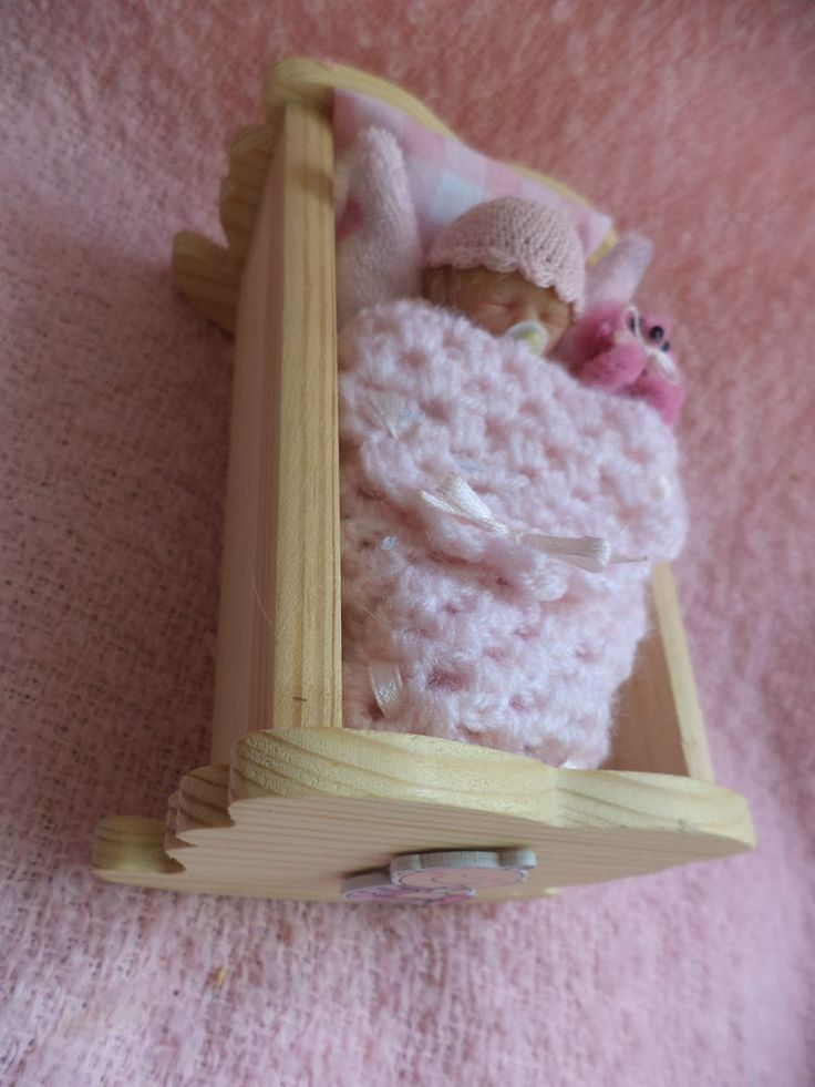 Beautiful Miniature baby Girl and wooden crib by TEENY TINY BABES Gorgeous gift!