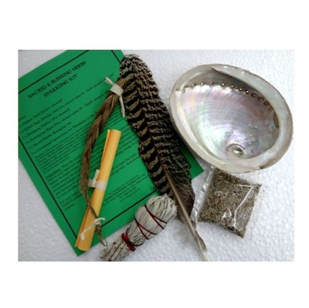 Sacred and Blessing Herbs Smudging Kit. This smudging kit contains everything you need to undertake spiritual and cleansing rituals. Kit contains: Abalone Shell,White Sage Smudge stick, Smudging Feather, Sweetgrass Braid, Sacred Herbs Smudging mix and instructions.