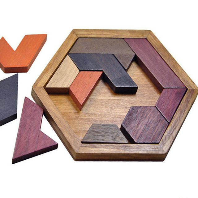 Children's  Geometry Puzzle Authentic Wood Boys Girls 11 Pcs Intelligence Building Toys Brain Teaser With Hexagonal Board