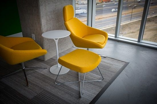 Love these modern chairs with a pop of color! Minimal style at its best.