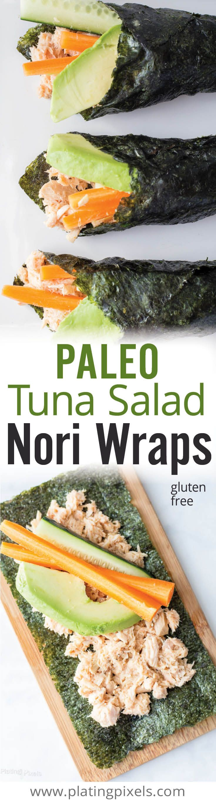Quick and healthy gluten free paleo tuna salad nori wraps. Albacore tuna, coconut milk, olive oil, lemon juice, avocado, carrot and cucumber on nori…